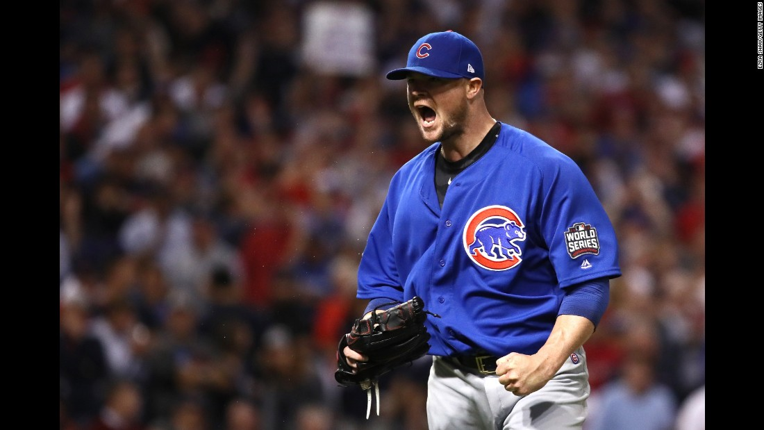 Jon Lester of the Chicago Cubs reacts after retiring the side during the seventh inning of Game 7.