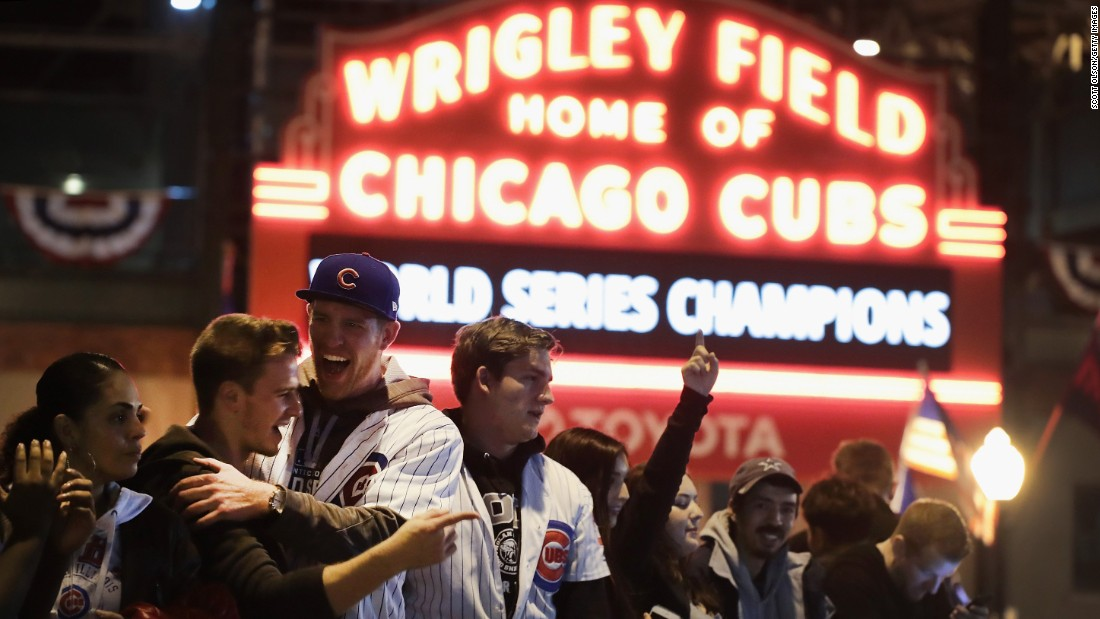 Cubs fans celebrate outside Wrigley Field. The street party in the Wrigleyville neighborhood of Chicago went late into the night.