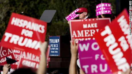 ORLANDO-- NOV 2: , 2016. Republican presidential candidate Donald Trump at a rally in Orlando, Florida, November 2, 2016. Trump supporters.   (Photo by David Hume Kennerly for CNN)