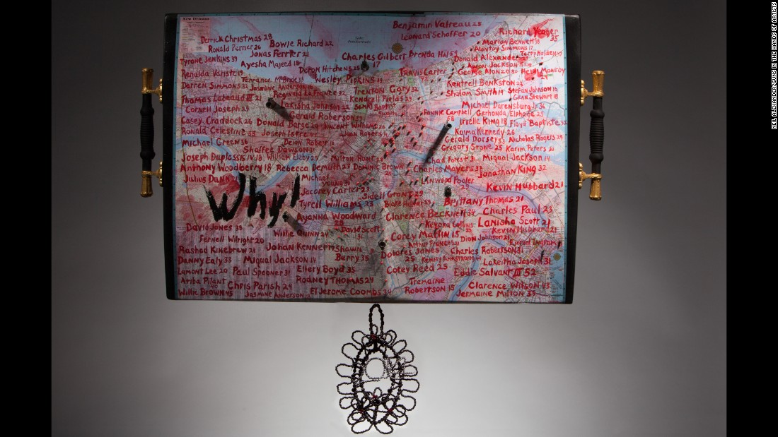 "Ron Bechet created ""Why (Is it Easier to Get a Gun than an Education, a Gun Instead of Help?)"" in 2014, inspired by the cries of victims' mothers, who often scream ""why?"" when they hear the news. The names are of those who were killed in New Orleans between January and September 2014."