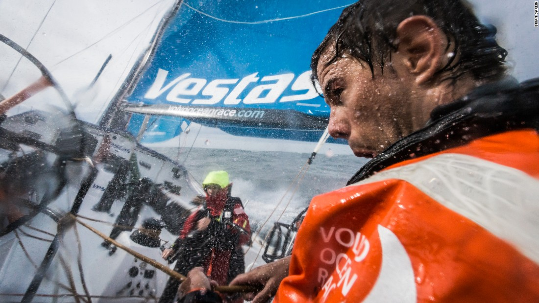 A sailor on board Vestas Wind is shot by Brian Carlin in France's Bay of Biscay during leg one of the Volvo Ocean Race.