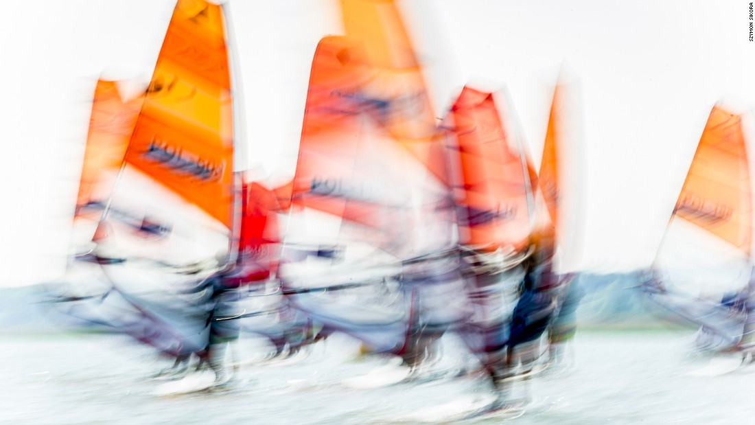 A dizzying image of the Polish Yachting Association Cup taken by Szymon Sikora during the women's race in Krynica Morska, Poland.