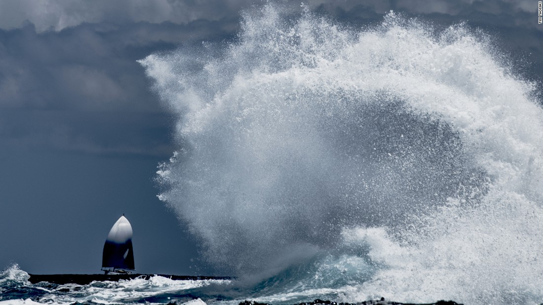 Tim Thomas came tenth, capturing the dramatic picture of the vessel Emmaline as the waves crashed in the distance at the St Barths Bucket regatta in the Caribbean.