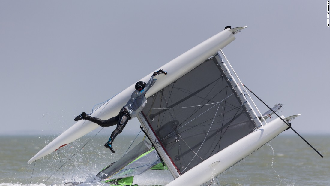 A sudden shift of wind sees a rise from 16 to 35 knots in seconds at the Formula 16 Worlds at Knokke-Heist, Belgium. Jasper Van Staveren was on hand to snap one surprised competitor.