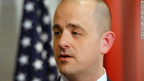 US Independent presidential candidate Evan McMullin talks to the press before an event at the University of Utah's Hinckley institute on November 2, 2016 in Salt Lake City, Utah.