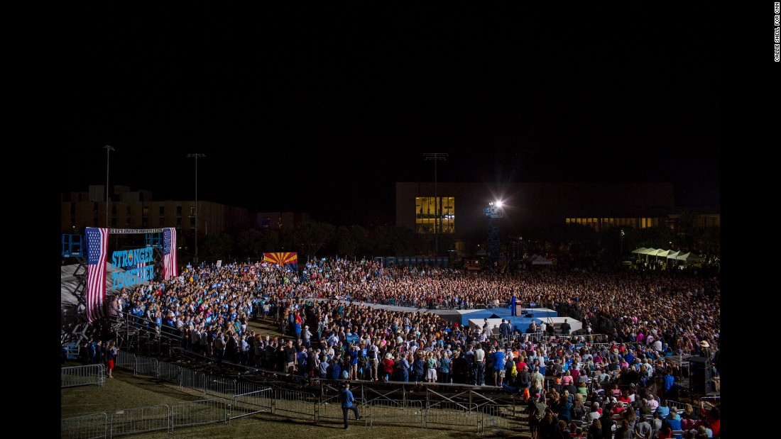 People attend a Clinton rally in Phoenix on November 2.