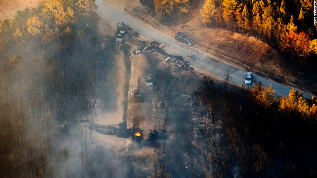 "Part of the Colonial Pipeline continues to burn a day after <a href=""http://money.cnn.com/2016/11/01/news/colonial-pipeline-explosion-gasoline-price-spike/"" target=""_blank"">an explosion</a> in Helena, Alabama, on Monday, October 31. One person was killed and five were injured after a construction crew hit the pipeline with a backhoe. The explosion caused the pipeline to be temporarily shut down. In early September, part of the pipeline was closed for nearly two weeks because of a huge gasoline leak."