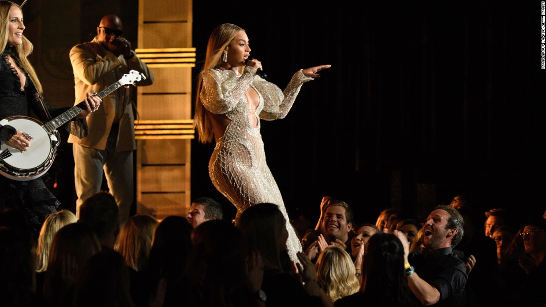"Beyonce performs with the Dixie Chicks at the Country Music Association Awards in Nashville, Tennessee, on Wednesday, November 2. <a href=""http://www.cnn.com/2016/11/02/entertainment/beyonce-performs-2016-cma-awards/index.html"" target=""_blank"">See the top five moments from the show</a>"