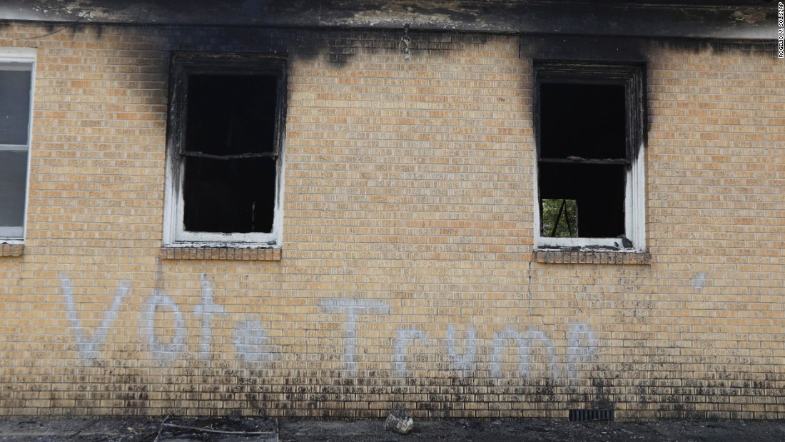 "Police are investigating <a href=""http://www.cnn.com/2016/11/02/us/mississippi-black-church-vandalized-vote-trump/"" target=""_blank"">the burning of a black church</a> in Greenville, Mississippi, that had ""Vote Trump"" spray-painted on its wall on Tuesday, November 1. No one was in the building, said Carilyn Hudson, pastor of the Hopewell Baptist Church."
