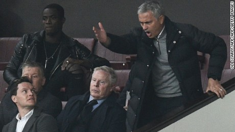 Mourinho was forced to watch the goalless draw with Burnley from the stands after a disagreement with the officials.