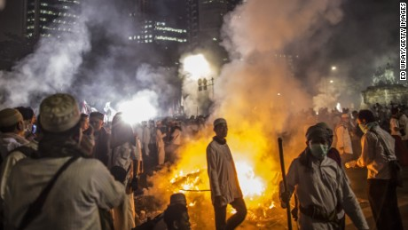 Violence broke out in Jakarta on November 4 after Islamic groups protested the city's governor.