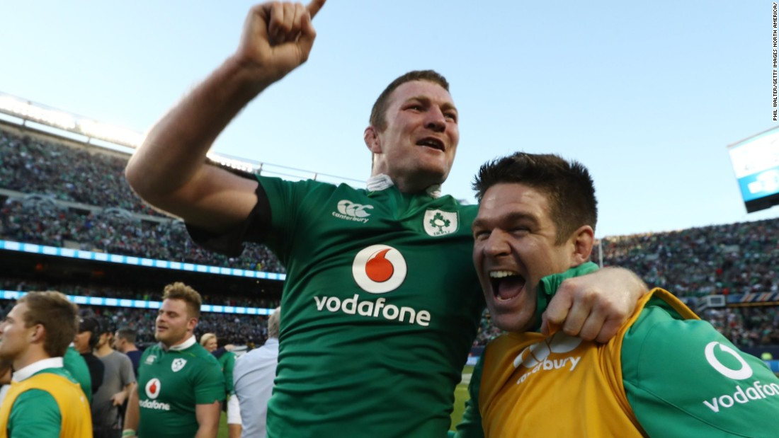 Donnacha Ryan of Ireland celebrates his team's historic 40-29 victory over the All Blacks at Soldier Field, which ended New Zealand's winning streak in November 2015.