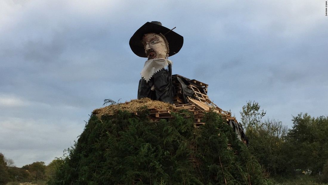 The town of Lewes in southern England is one of many to hold a Guy Fawkes or Bonfire Night celebration on November 5, but is particularly known for making elaborate effigies that are paraded in front of big crowds. Here, an effigy of Fawkes sits atop a bonfire that will be lit later that night.