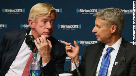 Vice Presidential Candidate Governor William Weld, Presidential Candidate Governor Gary Johnson and Michael Smerconish attend the SiriusXM Libertarian Presidential Forum at the National Constitution Center September 12, 2016 in Philadelphia, Pennsylvania.