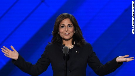Neera Tanden, President of the Center for American Progress Action Fund, speaks during the third day of the Democratic National Convention at the Wells Fargo Center, July 27, 2016 in Philadelphia, Pennsylvania.      / AFP / SAUL LOEB        (Photo credit should read SAUL LOEB/AFP/Getty Images)