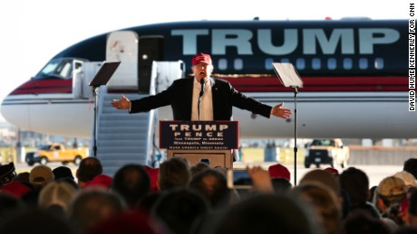 NOV 6: Republican presidential candidate Donald Trump at an airport rally in Sun Country Airlines Hangar at Minneapolis-Saint Paul International Airport, Minneapolis, Minnesota,  November 6, 2016 (Photo by David Hume Kennerly/CNN)