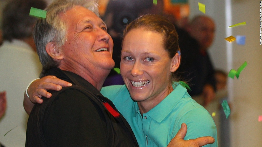The rigorous demands of the Tour mean that players spend long periods away from their homes and families. Here, Sam Stosur embraces her father in Brisbane airport, Australia, after winning the US Open in 2011.