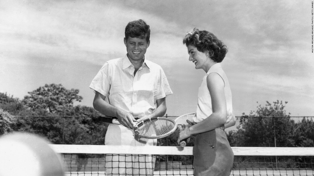 Not just an avid golfer, JFK was an enthusiastic all-round sportsman. Here he plays tennis with wife Jacqueline.