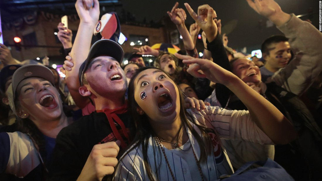 "Chicago Cubs fans celebrate in Chicago during Game 7 of the World Series on Wednesday, November 2. <a href=""http://www.cnn.com/2016/11/03/sport/gallery/cubs-win-world-series-2016/index.html"" target=""_blank"">See more celebration photos</a>"