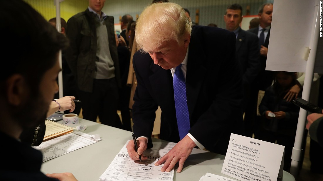 Republican presidential nominee Donald Trump casts his vote in New York on Election Day.