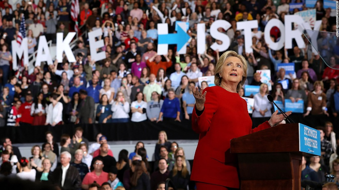 Clinton addresses a midnight rally at North Carolina State University in Raleigh early on November 8. Both Clinton and Trump barnstormed across battleground states in a frenetic, last-minute push for votes.