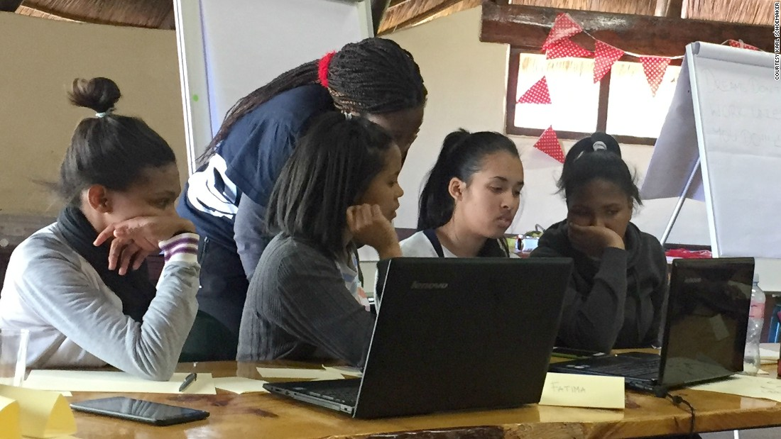 "Information received twice a day will go towards disaster prevention. ""We can try to stop it from happening from the data that we collect -- we can form responses,"" Bull says. Pictured here: Girls study launch procedure during a boot camp session in  Cape Town, South Africa."