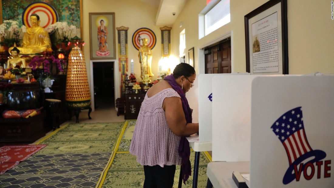 Denise Richardson votes at the Chua Phat To Gotama Temple in Long Beach, California.