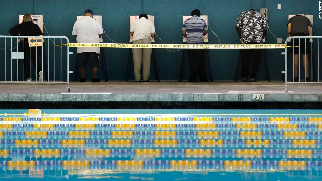 People cast their votes at the Echo Park Pool in Los Angeles.