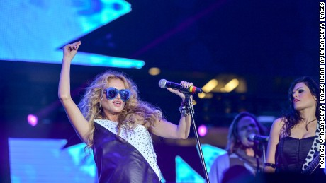 MIAMI, FL - DECEMBER 05: Paulina Rubio on stage at Grand Slam Party Latino at Marlins Park on December 5, 2015 in Miami, Florida. (Photo by Rodrigo Varela/Getty Images)