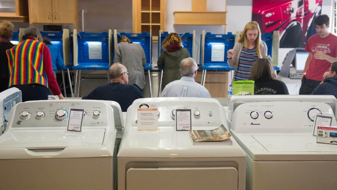Voters cast their ballots in a polling location inside Mike's TV and Appliance  November 8, 2016 in State College, Pennsylvania.