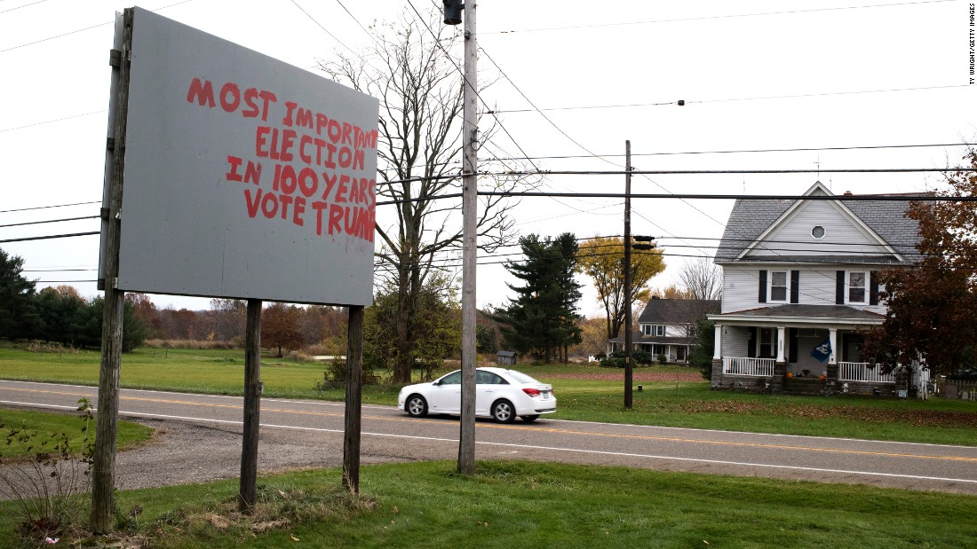 A hand-painted message appears on a billboard in Columbiana County, Ohio.