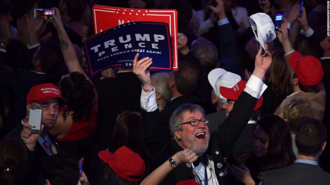 Trump supporters cheer during his election night event in New York.