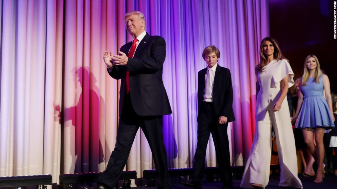 "Trump walks on stage with his family after he was declared the election winner on November 9. ""Ours was not a campaign, but rather, an incredible and great movement,"" he told his supporters in New York."