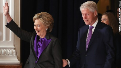 Former Secretary of State Hillary Clinton, accompanied by her husband former President Bill Clinton, takes the stage to concede the presidential election at the New Yorker Hotel on November 9, 2016 in New York City. Republican candidate Donald Trump won the 2016 presidential election in the early hours of the morning in a widely unforeseen upset.