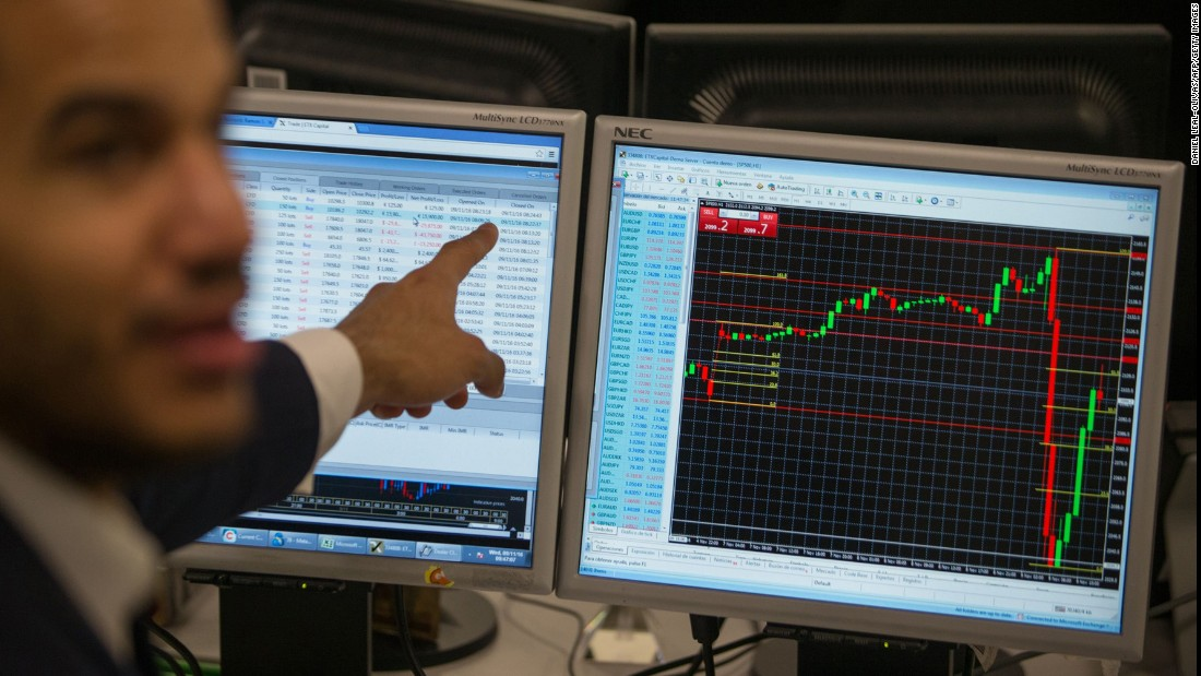 "A stock trader at ETX Capital in London gestures to a screen showing the S&P 500 Index on November 9. <a href=""http://money.cnn.com/2016/11/08/investing/global-markets-stocks-trump-clinton-us-presidential-election/"" target=""_blank"">Global stock markets dropped</a> as Trump's victory became more likely on Election Day."