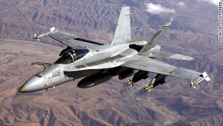An FA-18 Hornet like this one crashed today in the Southern California desert on November, 9. The pilot ejected safely.