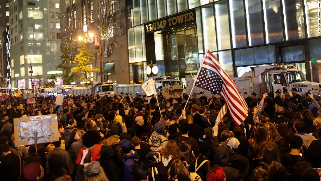 Crowds rally outside Trump Tower in New York on November 9.