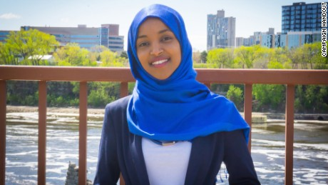 Ilhan Omar, seen here in a handout from her campaign website, has been elected to the Minnesota House of Representatives.
