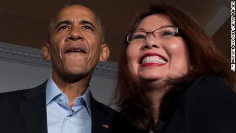 Tammy Duckworth, campaigning with US President Barack Obama in Chicago in October.