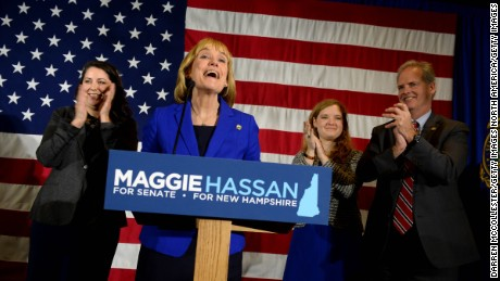 New Hampshire Gov. Maggie Hassan takes the stage to thank supporters in Manchester, New Hampshire.