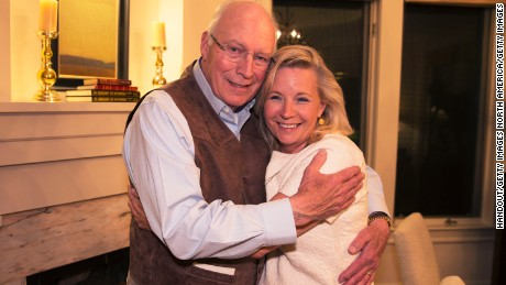 Former Vice President Dick Cheney -- who also represented Wyoming in Congress -- hugs his daughter Liz Cheney after she won the Republican primary in August.