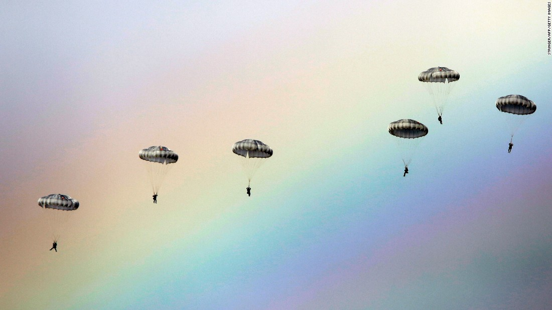 A rainbow is seen during a joint Russian, Belarusian and Serbian military exercise near Belgrade, Serbia, on Monday, November 7.