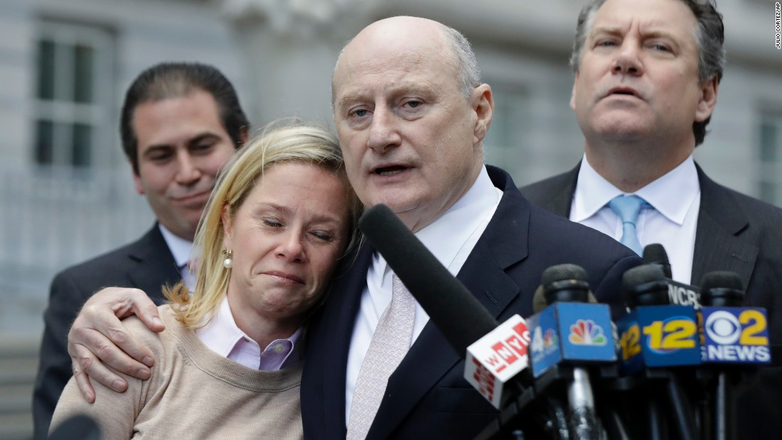 "Bridget Anne Kelly, left, is held by her lawyer Michael Critchley while talking to reporters in Newark, New Jersey, on Friday, November 4. Kelly, former deputy chief of staff for New Jersey Gov. Chris Christie, was found <a href=""http://www.cnn.com/2016/11/04/politics/bridgegate-case-verdict-reached/"" target=""_blank"">guilty on all counts in the George Washington Bridge traffic trial</a>. Also known as Bridgegate, the trial came about after lanes  on the George Washington Bridge were closed in 2013 in an apparent act of political retribution. Bill Baroni, former deputy executive director of the Port Authority of New York and New Jersey, was also found guilty on all counts."