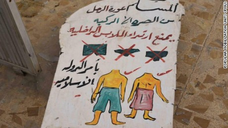 An ISIS poster discovered in Hamman al-Alil near Mosul shows the ban on Western-style underwear (Picture courtesy of Iraq Popular Mobilization Units)