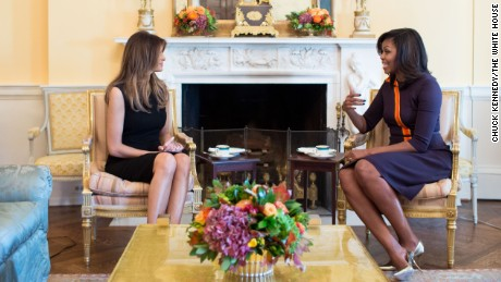 First Lady Michelle Obama meets with Melania Trump for tea in the Yellow Oval Room of the White House, Nov. 10, 2016. (Official White House Photo by Chuck Kennedy)