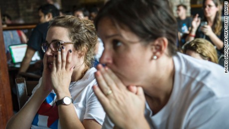 A crowd of American supporters of US presidential candidate Democrat Hillary Clinton reacts while watching a live broadcast of the US presidential election at a restaurant in Yangon on November 9, 2016. Donald Trump has stunned America and the world, riding a wave of populist resentment to defeat Hillary Clinton in the race to become the 45th president of the United States. / AFP / ROMEO GACAD        (Photo credit should read ROMEO GACAD/AFP/Getty Images)