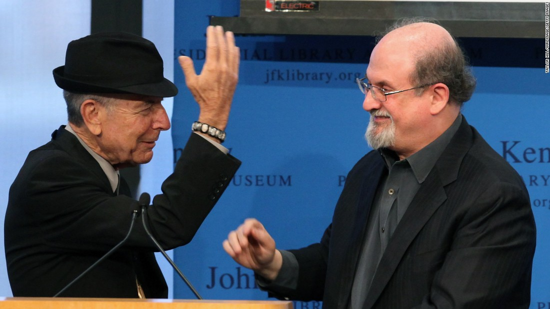 Cohen accepts a Song Lyrics of Literary Excellence award from Salman Rushdie  on February 26, 2012, in Boston.