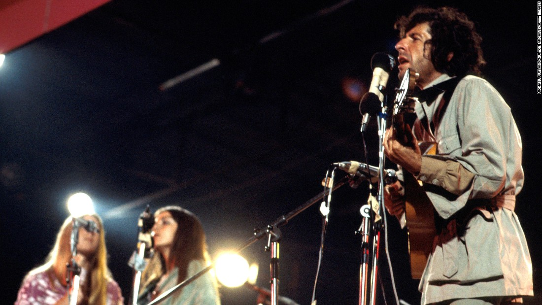 Cohen performs at the Isle Of Wight Festival on August 30, 1970.