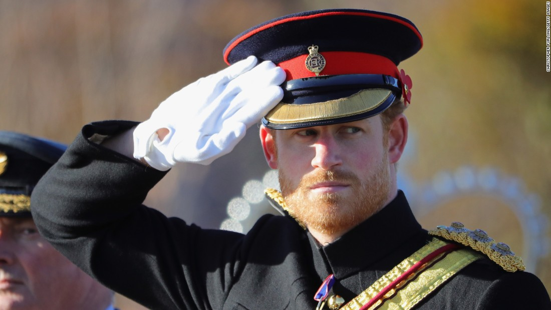 Britain's Prince Harry salutes as he attends an Armistice Day service in Stafford, England, on November 11.