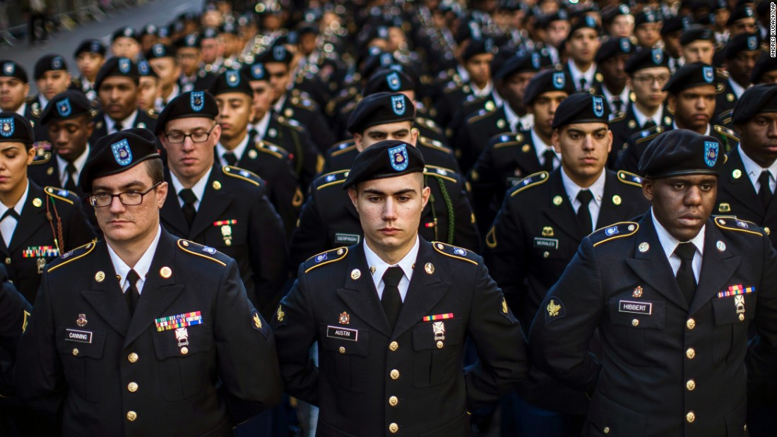 Military personnel march in New York's Veterans Day parade on November 11.